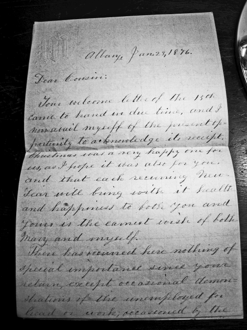 Jan. 1876 letter from John H. Bailey's cousin, William Walls