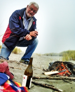 Gary &  fire at Clam Beach, McKinleyville, CA