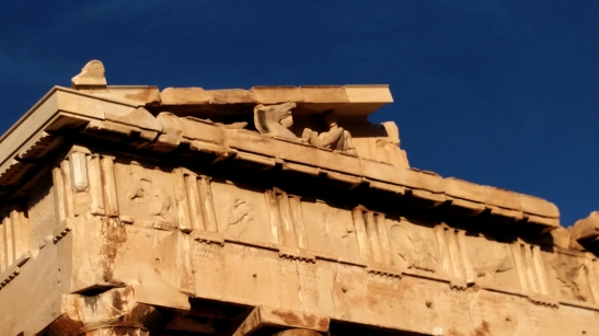 Acropolis-east pediment of the Parthenon close-up, 18-10-2015