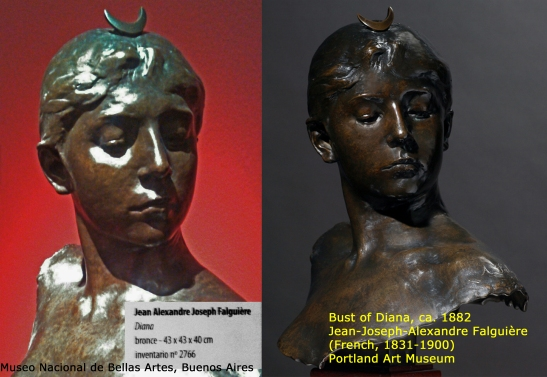 Two Falguiere bronze Dianas