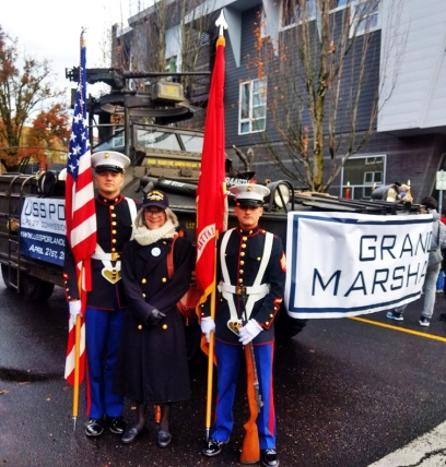 Marine Color Guard Sergeants with Diana and Duck